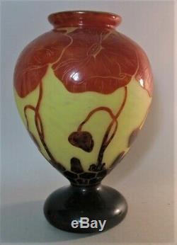 12 Le Verre Francais Pavots Cameo Glass Vase CHARLES SCHNEIDER French Art Deco