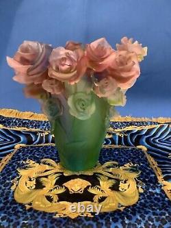 1980s Pate De Verre Style Rose Vase Pink Multi Color H7 Heavy 6.5lb