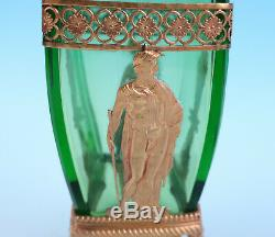 19thC French Ormolu Mounted Green Glass Vase Empire Gilt Bronze Antique Paw Feet