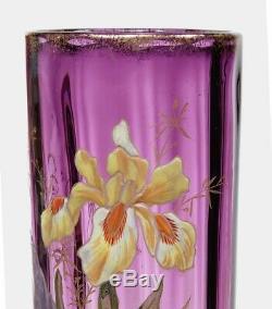 2 Antique Legras French Art Nouveau 14 Enameled Iris Vases France