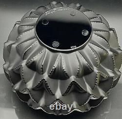 AMAZING NEW Black LALIQUE LANGUEDOC Cactus Leaf Vase ($1,250 Retail)