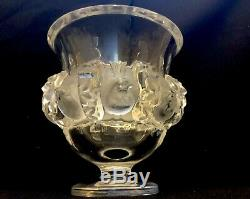 A Lalique Frosted and clear Crystal Dampierre Vase signed Lalique France