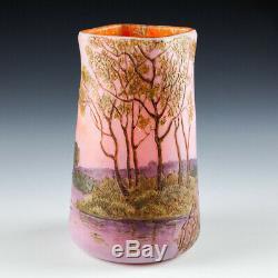 An Enamelled Landscape Legras Glass Vase c1920