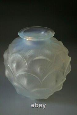 Antique Art Deco Sabino Opalescent Glass Vase Peacock Pattern