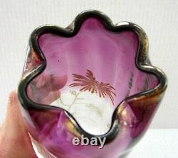 Antique Art Nouveau Legras France Enameled Art Glass Chrysanthemum Vase 9 3/4
