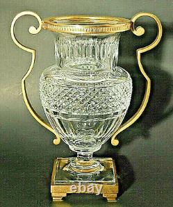 Antique Baccarat Cut Crystal Pedestal Vase with Gilt Bronze Metal Frame + Handles