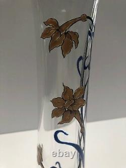 Antique Baccarat Enameled Art Nouveau Designed Vase Partial Sticker Remains