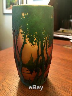 Antique Daum Nancy Landscape Cameo Art Glass Vase