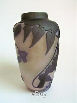 Antique EMILE GALLE 4 5/8 WISTERIA French Cameo Art Nouveau Cabinet Glass Vase