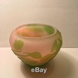 Antique Emile Galle French Art Glass Vase Multi Color Flower Plants