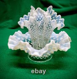 Antique Fenton French Opalescent Hobnail Art Glass Epergne Bowl Three Horn Vase