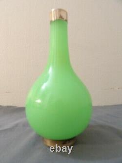 Antique French Bohemian Glass Bottle Vase Green Opaline Silver Mounted 6.25