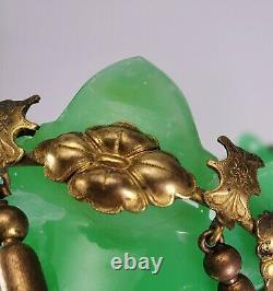 Antique French Palais Royal Green Opaline Glass Bronze Ormolu Mounted Vases
