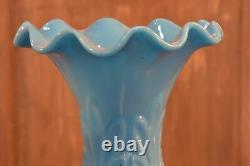 Antique French blue opaline vase sky blue milk glass