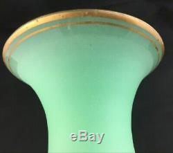 Antique French or Bohemian Green Gilt Opaline Glass 9 7/8 Vase with Prunts