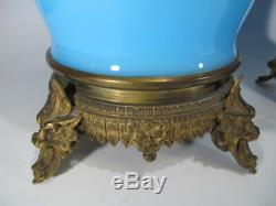 Antique French pair of blue opaline & bronze vases # 20053