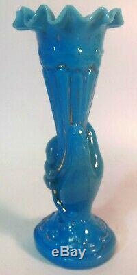 Antique HAND holding VASE FRENCH BLUE Glass Gold detail Victorian