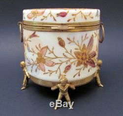 Antique HP French Enamel Butterfly Decoration Opaline Glass Powder Jar 1900