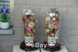 Antique PAIR French glass globes with silk Floral decor porcelain Vases