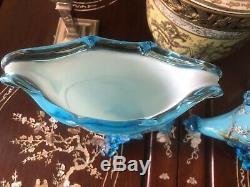 Antique Pair Hand Blown Blue French Opaline Vases W Superb Enamel Detail Moser