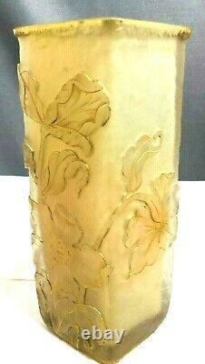 Antique Signed Daum Nancy Cameo Art Glass Cut Vase Raised Gilt Edged Flowers