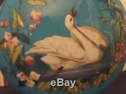 Antique Victorian French Blue Opaline Glass Vase With Enamel Painted Swan Scene