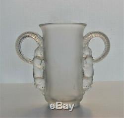 Antique Vintage Authentic 1931 Rene Lalique Thibet Ram Vase Signed On Bottom