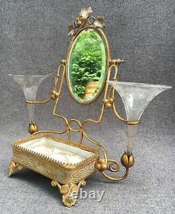 Antique french Napoleon III bronze table mirror 19th century glass vases jewelry