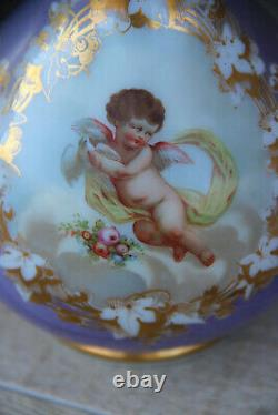 Antique french hand paint putti angel opaline purple glass vase rare 19thc