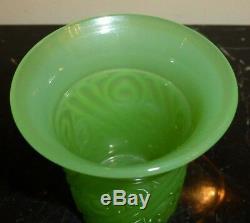 Art Deco French Green Opaline Art Glass Vase