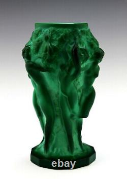 Art Deco Glass Jade Malachite Nude Ladies Figural Vase 1930' H. Hoffmann
