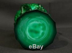 Art Deco Glass Jade Malachite Nude Ladies Vase 1930' H. Hoffmann Lalique Green