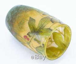Art Nouveau Period Daum Nancy Cameo Glass Miniature Vase Berry Vine