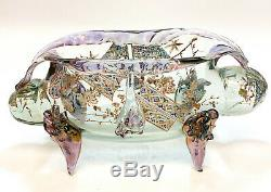 Auguste Jean French Art Glass Footed Enameled Footed Vase, circa 1900, Signed