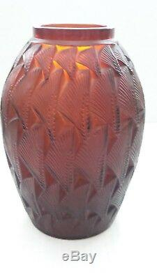 Authentic R. Lalique GRIGNON Vase, Deep Amber, #1085, c. 1930's