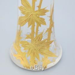 BACCARAT Antique French Crystal Flower Vase Art Nouveau Gold Gilt Enamel Thistle
