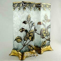 BACCARAT Pair Antique French Acid Etched Cameo Glass Vases Art Nouveau Poppies