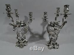 Baccarat / Aucoc Vase Candelabra 3 Light Pair French 950 Silver & Crystal