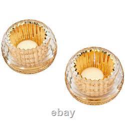Baccarat Crystal Eye Votive Candle Holder Gold Set of 2