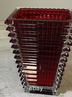 Baccarat Eye Vase Small Rectangular Red Nice