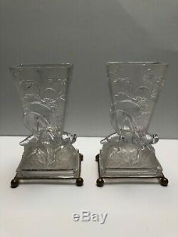 Baccarat Pair Of Moulded Grasshopper Vases With Dore Bronze Bases #265