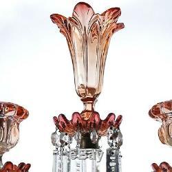 Baccarat Rose Tiente Amberina Candelabra with Center Epergne Vase c1900