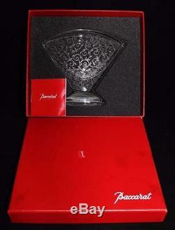 Baccarat Vintage Crystal Art Deco RENDEZVOUS Large Fan Vase, MIB, 6 x 7, COA