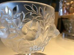 Beautiful Lalique France Dampierre Crystal Candy Dish /Vase! Beautiful Birds