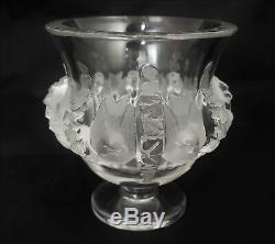 Beautiful Signed Lalique Crystal Dampierre Vase Birds & Vines