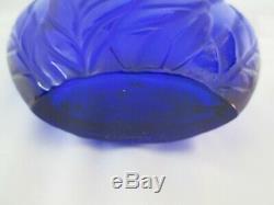 Beautiful Vintage Lalique Cobalt Blue Vase Signed