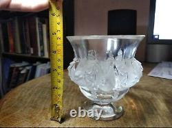 Beautiful Vintage Lalique France Dampierre Crystal Vase Bowl Birds Signed