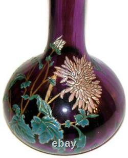 C1890 Mont Joye Legras French Art Glass Enameled Art Nouveau Purple 14 Vase