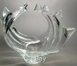 Crystal ART VANNES LE CHATEL 11.5 Swirling wave CENTERPIECE VASE BOWL FRANCE