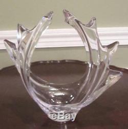 Crystal Vannes Le Chatel Huge Swirling Wave Crystal Centerpiece Vase- France